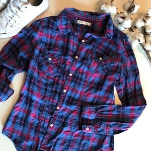 Bright Plaid Button-Up